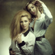 Couple fashion blonde girls — Stock Photo