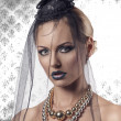 Close-up portrait of goth halloween girl — Stock Photo