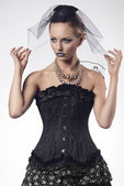 Woman with fashion gothic style — Stock Photo