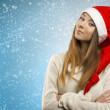 Nice woman with santa claus hat — Stock Photo