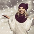 Winter girl in white on grunge color — Foto Stock
