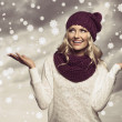 Winter girl in white on grunge color — Stockfoto