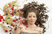 Beauty christmas girl with creative decorations — Stock Photo
