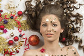 Close-up shoot of christmas woman — Stock Photo