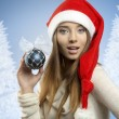 Cute girl with xmas decoration — Stock Photo