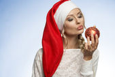 Young xmas blond girl — Stock Photo