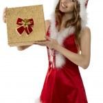 Smiling christmas girl with gift box — Stock Photo #35750021