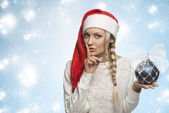 Funny christmas girl with red hat — Stock Photo