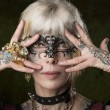 Stock Photo: Masquerade tattoo gothic girl