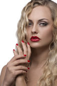 Sexy girl with red lips — Stock Photo