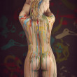 Blond nude girl with multicolor paint — Stock Photo #43224183