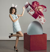 Smiling woman with easter big box — Stock Photo