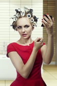 Beauty makeup girl with hair rollers  — Stock Photo