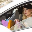 Elegant girl in car with shopping bags — Stock Photo #45368949