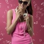 Sexy woman with headphone — ストック写真