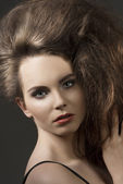 Close-up of girl with voluminous hair  — Stock Photo
