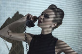 Fashion girl with retro phone  — Stock Photo