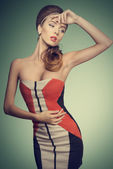 Fashion female with vogue dress  — Stok fotoğraf