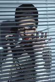 Sexy spy woman behind shutters  — Stock Photo