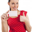 Smiling woman in red dress — Stock Photo #6533699