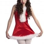 Sweet brunette in christmas dress — Stock Photo #7571810