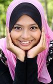 Portrait of beautiful thoughtful muslim woman — Stock Photo