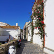 Typical street in the Mediterranean village of Cadaques - Stock Photo
