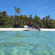 Boat on a tropical beach - Stockfoto