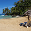 Lounge chairs with parasol on tropical beach - Foto Stock