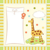 Baby greeting card with giraffe — Stock Vector