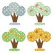 Seasonal cartoon trees — Stock Vector
