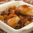 Roasted chicken with soy sauce,ginger,cinnamon,garlic and anise - Stock Photo