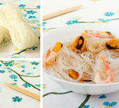 Salad of Chinese rice noodles and seafood. Collage — Stock Photo