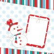 Template christmas greeting card with snowman — Stock Vector