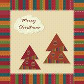 ビンテージ グリーティング カード クリスマス — ストックベクタ