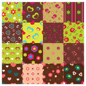 Set of floral seamless patterns — Stock Vector