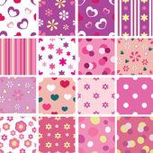 Set of kid seamless patterns — Stock Vector