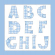 Royalty-Free Stock Vector Image: Blue fabric alphabet. Letters A, B, C, D, E, F, G, H, I, J