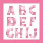Pink fabric alphabet. Letters A, B, C, D, E, F, G, H, I, J — Stock Vector #17359651