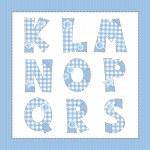 Blue fabric alphabet. Letters K, L, M, N, O, P, Q, R, S — Stock Vector