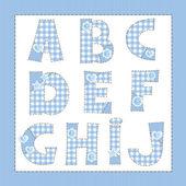 Blue fabric alphabet. Letters A, B, C, D, E, F, G, H, I, J — Stock Vector