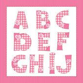 Pink fabric alphabet. Letters A, B, C, D, E, F, G, H, I, J — Stock Vector