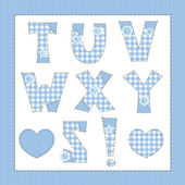 Blue fabric alphabet. Letters T, U, V, W, X, Y, Z — Stock Vector