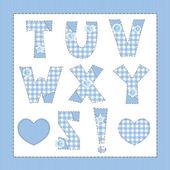 Blue fabric alphabet. Letters T, U, V, W, X, Y, Z — Stock Vector