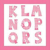 Pink fabric alphabet. Letters K, L, M, N, O, P, Q, R, S — Stock Vector