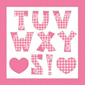 Pink fabric alphabet. Letters T, U, V, W, X, Y, Z — Stock Vector