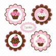 Set of cupcakes labels - Stock Vector