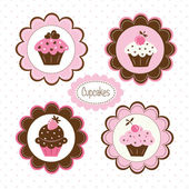 Set of cupcakes labels — Stock Vector