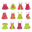 Baby Girl Dress Collection - Stock Vector