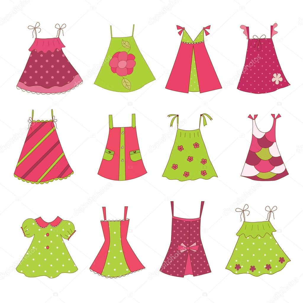 baby girl dress collection stock illustration baby girl dress designs